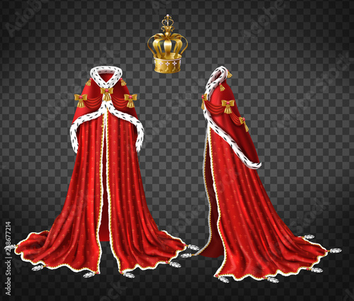 Photo Queens or princes royal robe with red cape and mantle trimmed ermine fur and pre