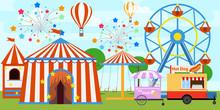 Colorful Fair Tent And Ferris Wheel In Amusement Park. Cartoon Amusement Park With Circus, Carousels. Amusement Park In Flat Colorful Vector Style