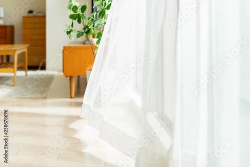 Obraz na plátně 風に揺れるカーテン