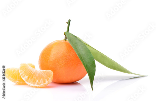 Mandarin fruit on white background