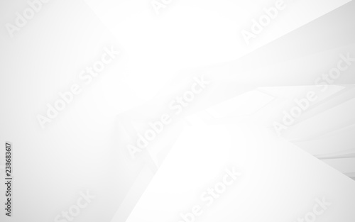 Fototapety, obrazy: Abstract white interior of the future. 3D illustration and rendering