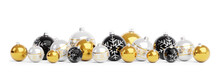 Gold And Black Christmas Baubles Isolated 3D Rendering