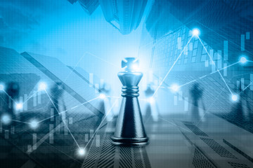 Double exposure financial market stock chart with chess board game competition, success and leadership business concept