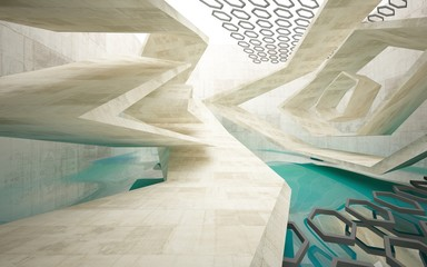 Abstract interior  concrete with blue water. Architectural background. 3D illustration and rendering