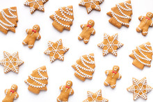 Set Of Christmas Gingerbreads Isolated On White