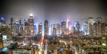Midtown Manhattan Aerial View At Night As Seen From Hell's Kitchen Rooftop