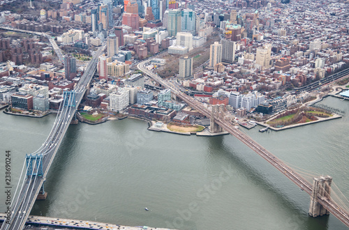 In de dag New York City Aerial view of Manhattan and Brooklyn Bridge from helicopter, New York City in winter