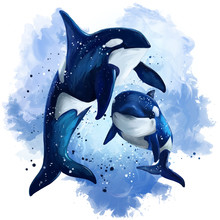 Two Killer Whales In The Ocean. Watercolor Painting