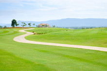 Walkway On The Green Field In The Golf Club With Beautiful View.