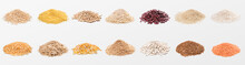 Heaps Of Various Grains And Cereals On White Background