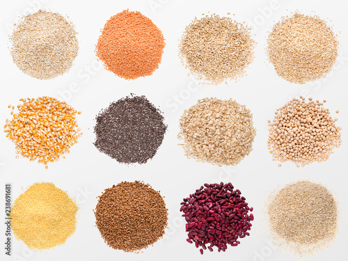 Fotografie, Obraz  Collection of various grains and cereals on white background