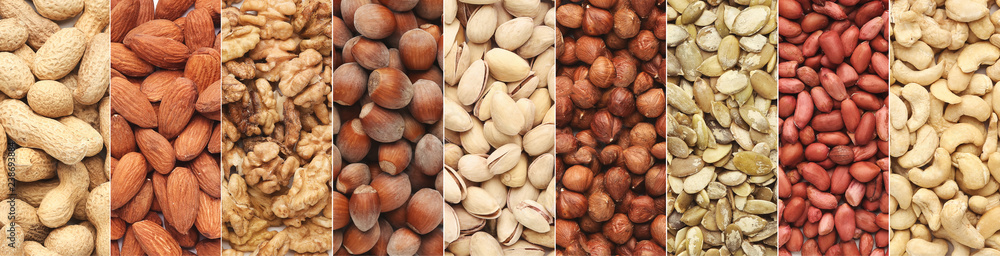 Fototapety, obrazy: Collage of different nuts in rows, top view