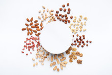 Assortment Of Scattered Nuts In Circle With Copy Space