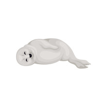 Seal Pup Lying On Its Side With Closed Eyes, Side View. Arctic Animal With Gray Coat. Marine Mammal. Flat Vector Icon