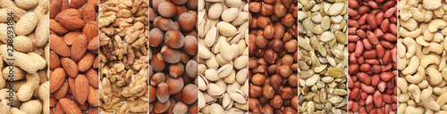 obraz lub plakat Collage of different nuts in rows, top view