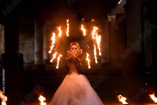 Foto op Plexiglas Wand Halloween. Young beautiful girl with make-up skeleton
