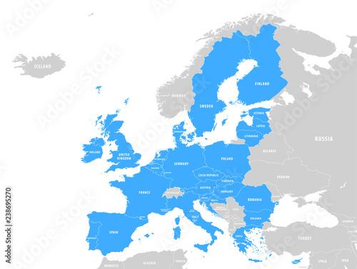 Fototapeta Vector Blue Map of the European Union obraz