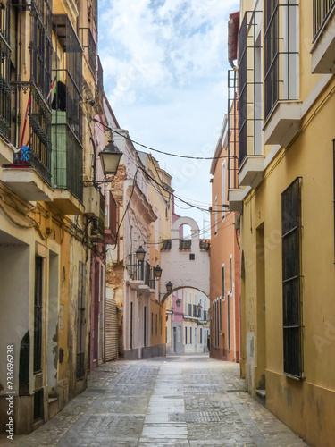 Badajoz, Spain - Circa April 2017: Narrow streets of the historic center of Badajoz