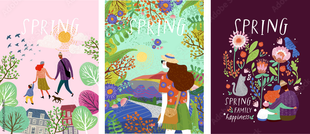 Fototapeta cute posters of spring time, vector drawn illustrations of a happy family in nature, girls against a landscape and a family with a pet cat surrounded by floral patterns