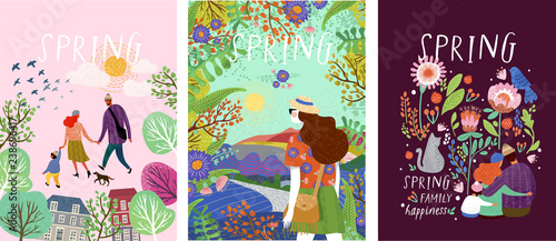 Fototapeta cute posters of spring time, vector drawn illustrations of a happy family in nature, girls against a landscape and a family with a pet cat surrounded by floral patterns obraz