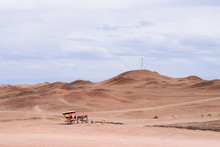 Donkey Cart In The Middle Of Gobi Desert At The Historical Site Of Yang Pass, In Yangguan, Gansu, China