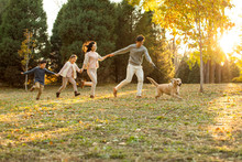 Happy Young Family With Dog In...