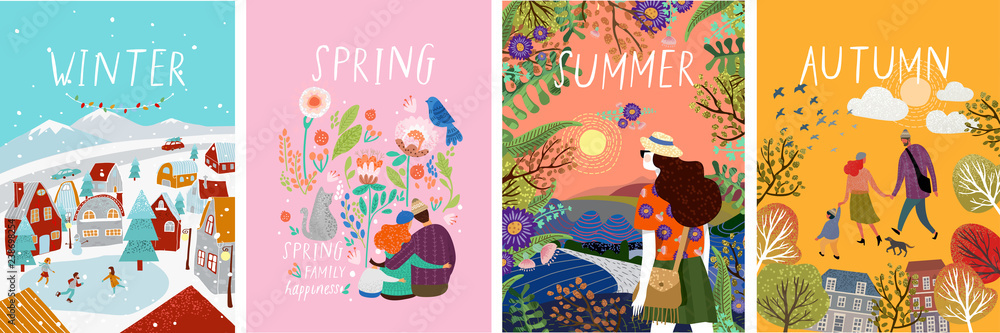 Fototapeta posters of seasons: winter, spring, summer, autumn; illustrations of a family in nature, girl in a landscape, a family with a cat in flowers and a city street with a skating rink and people
