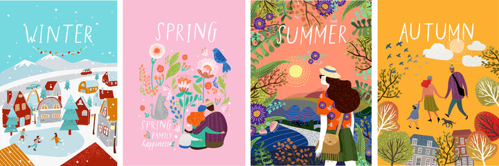 posters of seasons: winter, spring, summer, autumn; illustrations of a family in nature, girl in a landscape, a family with a cat in flowers and a city street with a skating rink and people