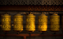 Rotating Buddhist Prayer Wheel...