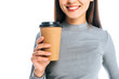 partial view of smiling woman with coffee to go isolated on white