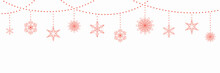 Christmas Background With Garlands And Hanging Snowflakes, On White. Vector Illustration. Flat Style Design. Concept For Winter Holiday Banner, Greeting Card, Decorative Element.