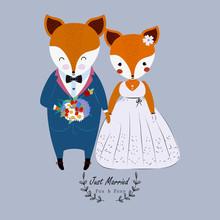 Cute Wedding Couple Fox In Wed...
