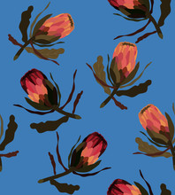 Seamless Pattern With Protea Flower. Floral Background With Africans Protea Flowers For Fabric Design.