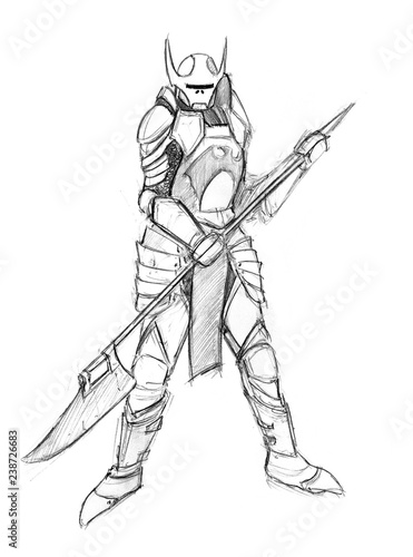 Foto op Plexiglas Art Studio Black and white rough grunge pencil sketch of evil warrior knight. Concept art drawing.