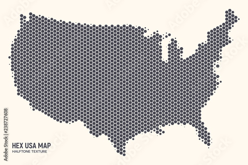 Hex USA Map Vector Isolated on Light Background. Hexagonal Halftone ...