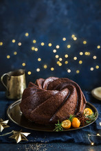 Gingerbread Bundt  Cake On Dark Festive  Background