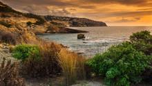 Atardecer En Mallorca En Una Vista Al Mar Y Acantilados Con Plantas En Primer Plano