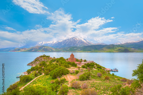 The Armenian Cathedral Church of the Holy Cross in Akdamar Island in Van Lake, T Canvas Print