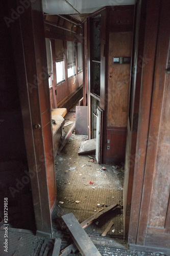 Inside of abandoned orient express in Malaszewice, Poland Canvas-taulu