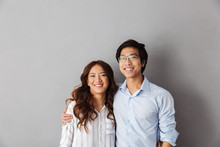 Cheerful Asian Couple Standing