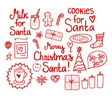 Merry Christmas Doodle Set. Vector Red Hand Drawing Holiday Elements Isolated On White Background. Cookies And Milk For Santa.