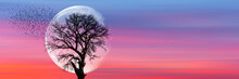 """Silhouettes Of Flying Birds And Dead Tree At Sunset """"Elements Of This Image Furnished By NASA"""""""