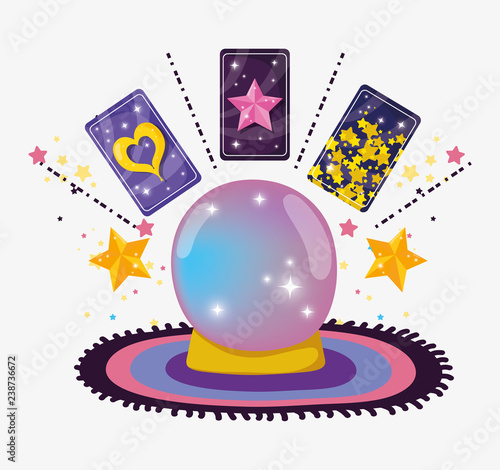crystal ball with magic cards and stars Canvas Print