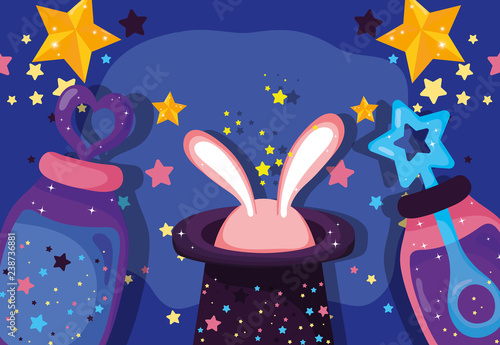 Photo magic hat with rabbit and potions effect