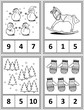 Winter holidays themed counting 1 to 10 practise for kids worksheet or four task cards (when cut along the dotted lines): Count. Circle the correct answer. Color. - Language independent.