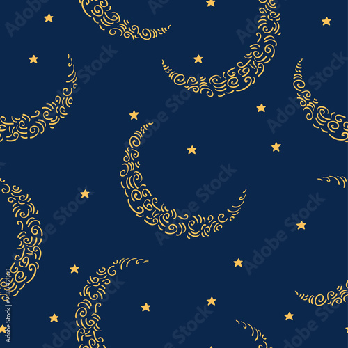 fototapeta na ścianę Simple seamless pattern with moons and stars for gift wrap, textile or book covers, wallpapers and scrapbook. Vector.