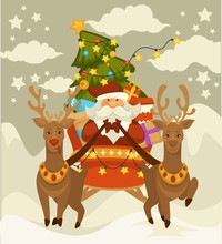 Santa Claus And Deers With Sleigh Flying Over Winter Snowy Forest