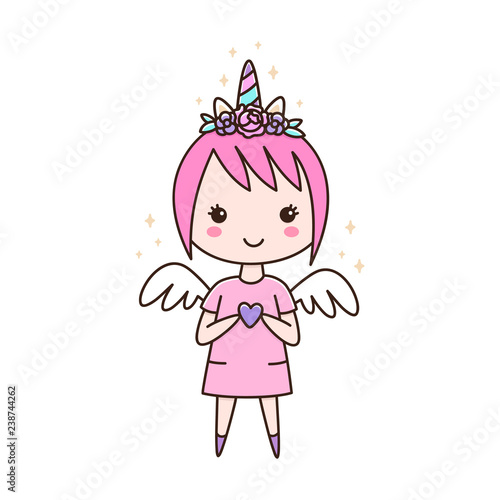 Fototapeta  Cute girl in a headband unicorn with flowers, with wings and a heart in her hands