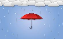 Red Umbrella In Rainy Weather