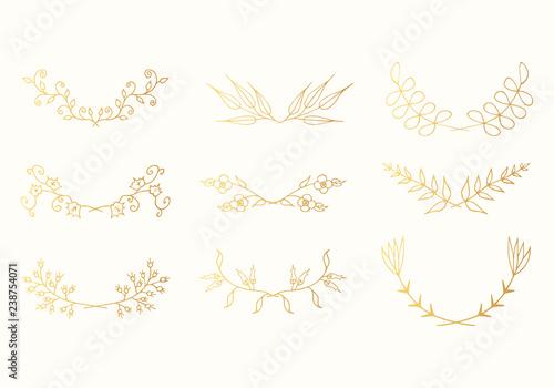 Fototapeta Vintage Hand Drawn Golden Floral Laurel Borders Set Vector Isolated Elements Gold Wedding Dividers For Invitation Card